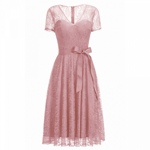 Short Sleeves V-neck Lace Dresses with Bow Sash_1
