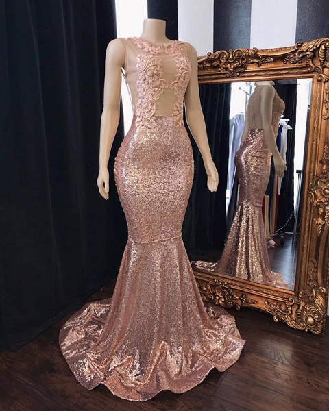 Pink Sequins Appliques Mermaid Prom Dresses | 2021 Sleeveless Sheer Tulle Evening Gowns_2