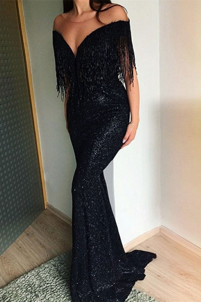 Excellent Off-the-shoulder Sequined Mermaid Prom Dress_1