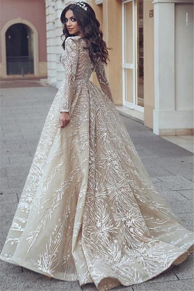 Elegant V-neck Appliques A-line Prom Dress_3