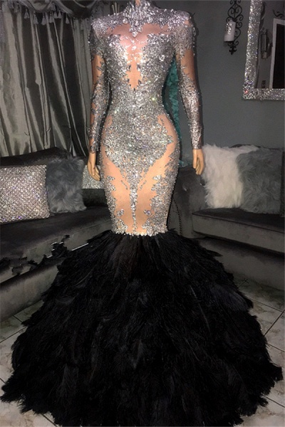 Awesome High Neck Sequined Mermaid Prom Dress_1