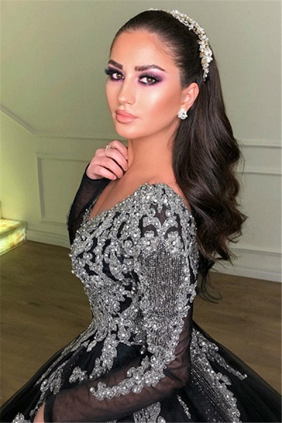 Beautiful V-neck Appliques Ball Gown Prom Dress_2