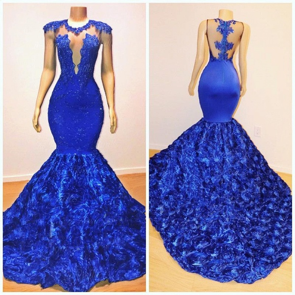 2021 Royal-Blue Flowers Mermaid Long Evening Gowns | Glamorous Sleeveless With lace Appliques Prom Dresses_5