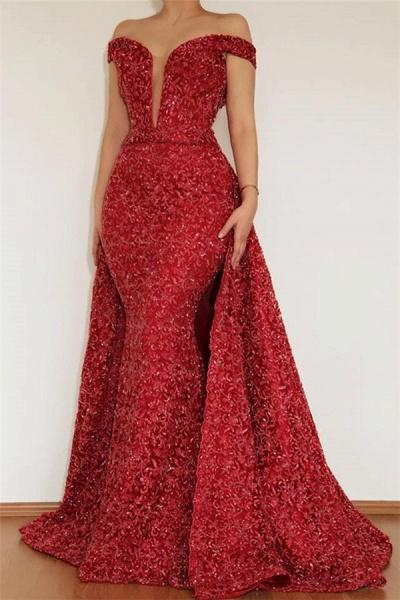 Excellent Off-the-shoulder Appliques Mermaid Prom Dress_1