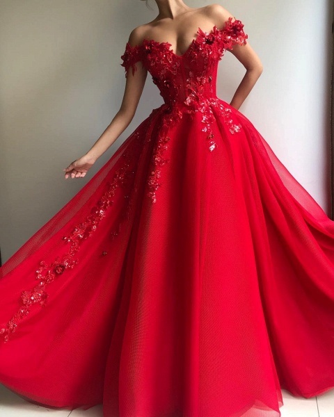 Excellent Off-the-shoulder Appliques A-line Prom Dress_2