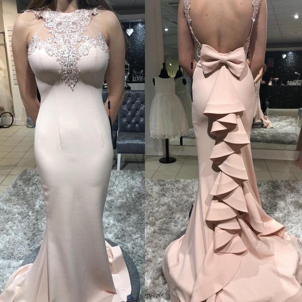 Amazing High Neck Cascading Ruffle Mermaid Prom Dress_2