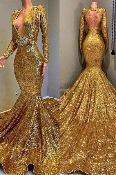 Gorgeous Mermaid Sequins Long Sleeves Floor Length Prom Dresses_1