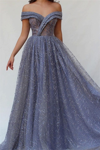 Excellent Off-the-shoulder Beading A-line Prom Dress_1