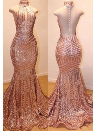 Shiny High Neck Sleeveless Sequins Mermaid Prom Dresses_3