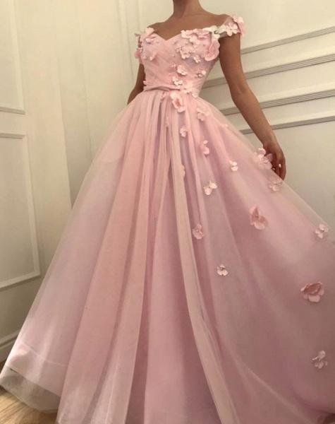 Fascinating Off-the-shoulder Flower(s) A-line Prom Dress_4