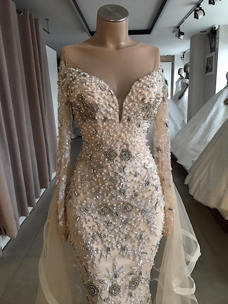 Luxury Long sleeve off-the-shoulder prom dress with fully-covered beads_3
