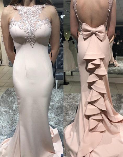 Amazing High Neck Cascading Ruffle Mermaid Prom Dress_1