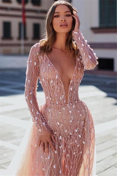 Attractive V-neck Crystal Mermaid Prom Dress_2