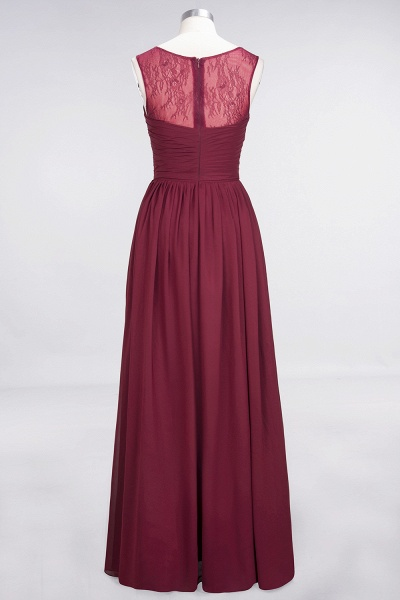A-Line Chiffon Tulle Lace Scoop Sleeveless Floor-Length Bridesmaid Dress with Ruffle_2