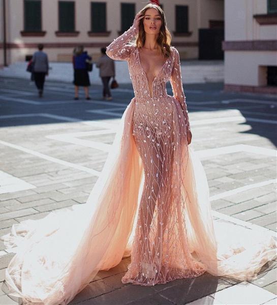 Attractive V-neck Crystal Mermaid Prom Dress_3
