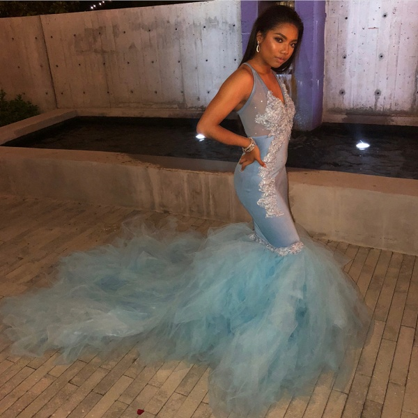 Fascinating Spaghetti Straps Appliques Mermaid Prom Dress_2