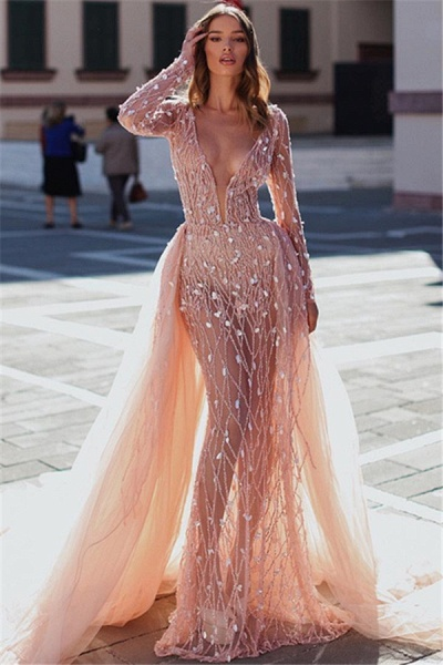 Attractive V-neck Crystal Mermaid Prom Dress_1