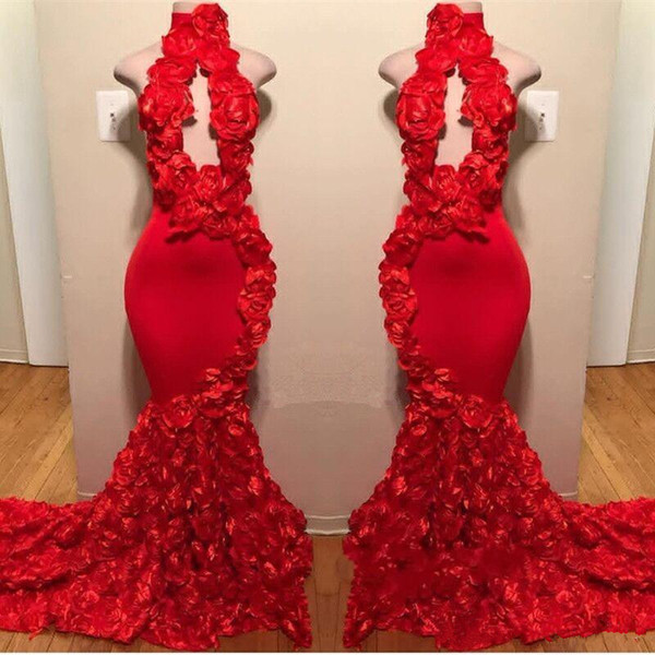 Sexy Flowers Halter Sleeveless Long Prom Dresses | 2021 Red Keyhole Mermaid Evening Gowns_2