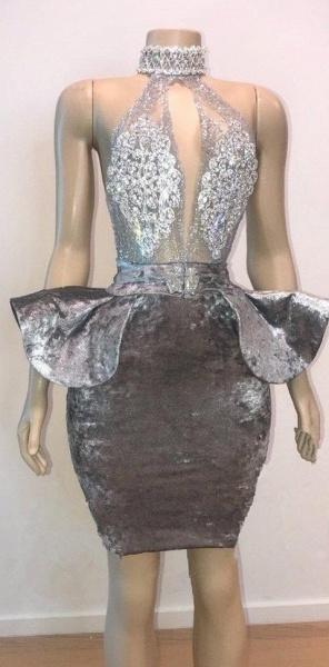 Halter Keyhole Neckline Appliqued Short Prom Dresses_1