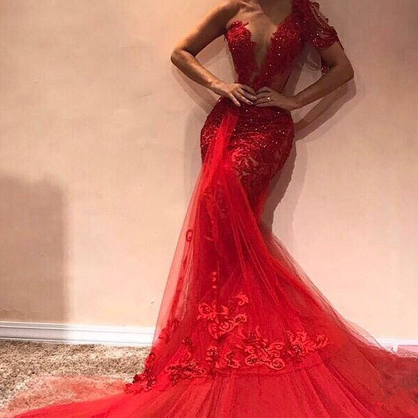 Glorious One Shoulder Appliques Mermaid Prom Dress_2