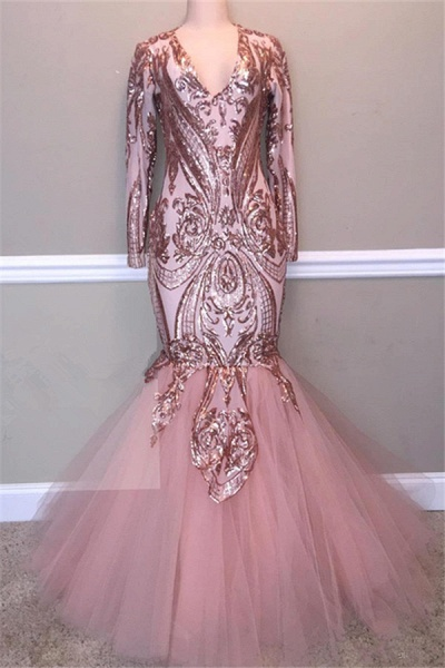 Glamorous Sequins A-Line Long Prom Gowns | 2021 Spaghetti Straps V-Neck Evening Dress_1