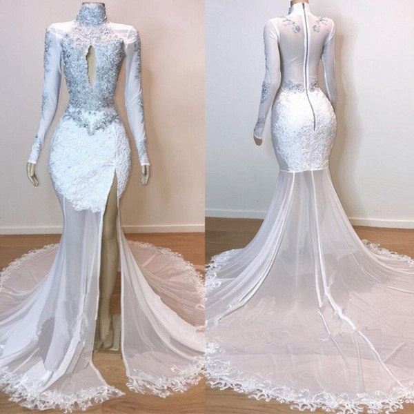 White Stunning Lace Long Sleeves Prom Dresses | 2021 Sheer Tulle Slit Mermaid Evening Gowns_4