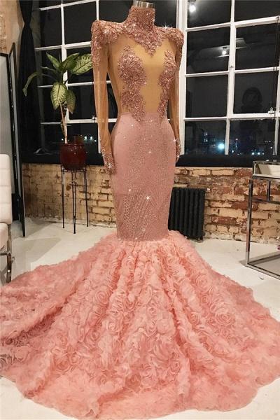 Exquisite High Neck Appliques Mermaid Prom Dress_1