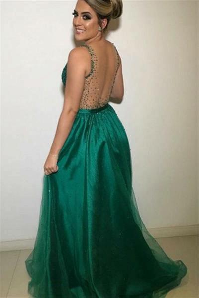 Precious V-neck Appliques A-line Prom Dress_2