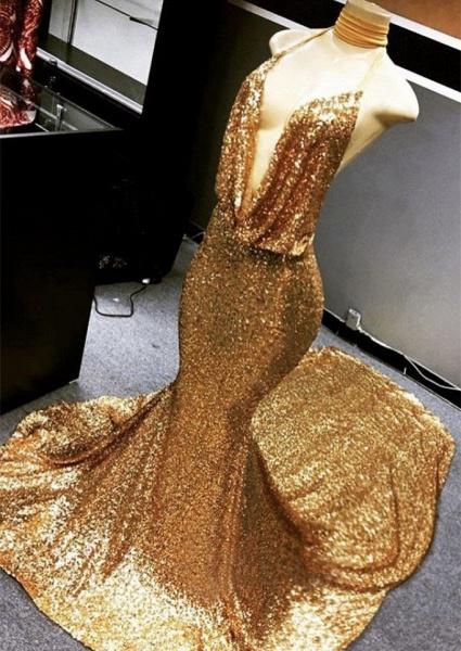 Gold Sparkly Sequined Deep Flow Neck Prom Dress | Halter V-neck Mermaid Evening Dress_1