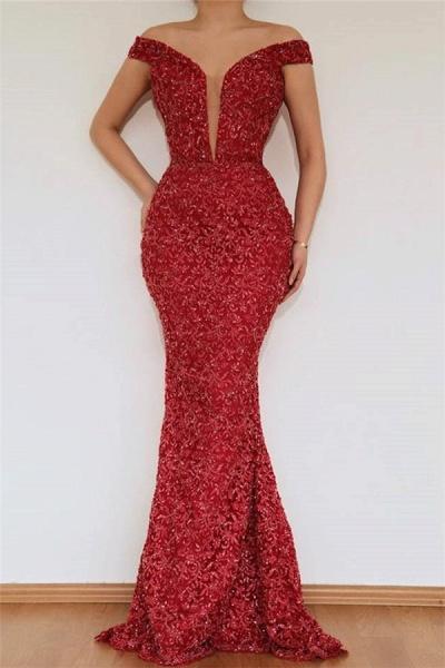 Excellent Off-the-shoulder Appliques Mermaid Prom Dress_2