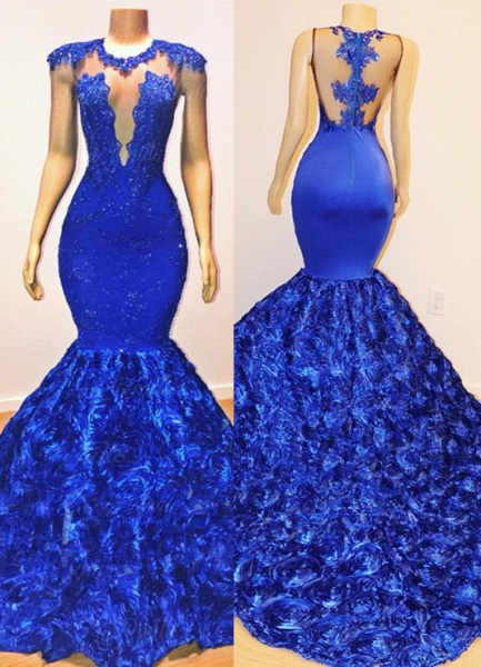 Sexy Royal Blue Flowers Mermaid Prom Dresses | Appliques Sleeveless Sheer Evening Dress BC1059_1