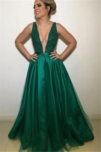 Precious V-neck Appliques A-line Prom Dress_1