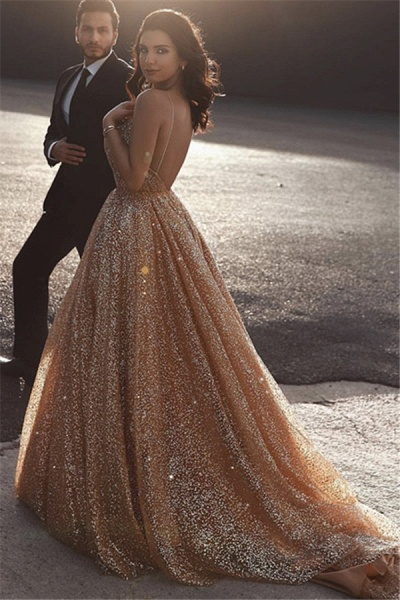 Best Spaghetti Straps Sequined A-line Prom Dress_2