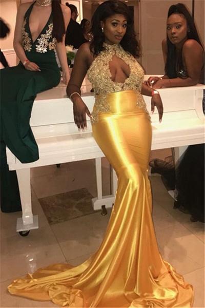 Exquisite Halter Appliques Mermaid Prom Dress_2