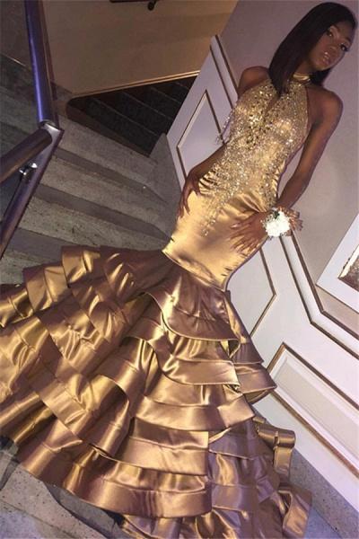 Beautiful Halter Appliques Mermaid Prom Dress_1