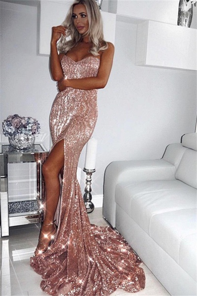 Amazing Sweetheart Sequined Mermaid Prom Dress_2