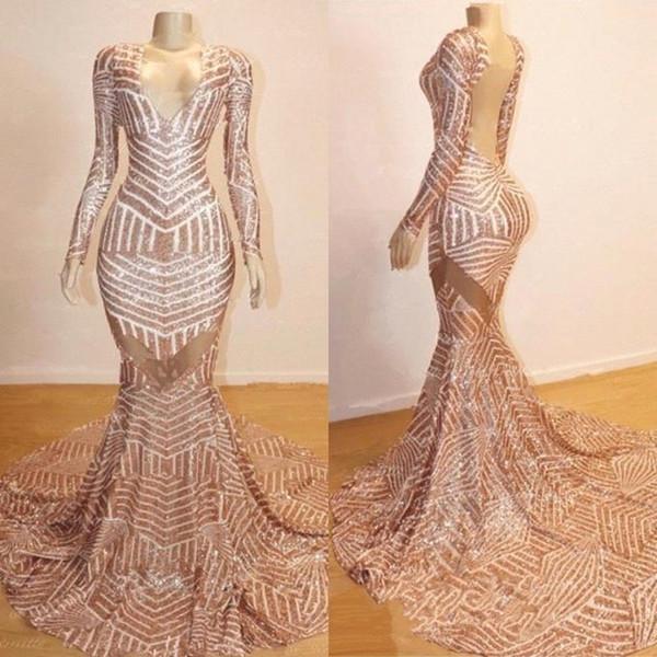 Mermaid Long Sleeves V-neck Sequined Sweep Train Prom Dresses_3