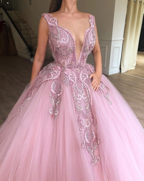 Modest Straps Appliques Ball Gown Prom Dress_2