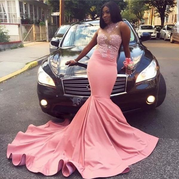 Excellent High Neck Appliques Mermaid Prom Dress_3