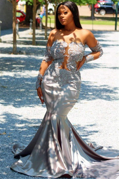 Fascinating Off-the-shoulder Appliques Mermaid Prom Dress_2
