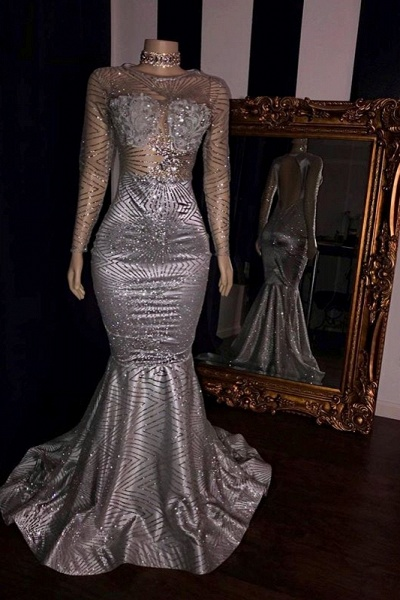 Elegant Appliques Sheer Tulle Prom Dresses   Sliver Long Sleeves Mermaid Evening Gowns_1