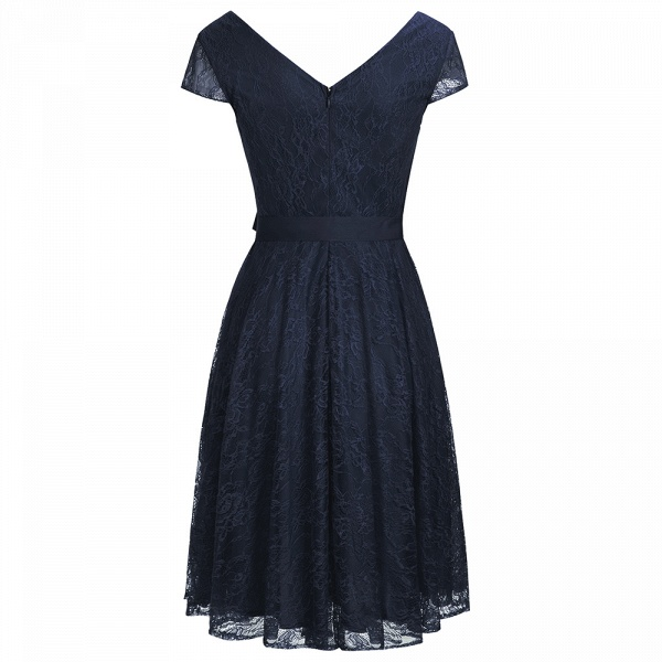 A-line Shoet Sleeves V-neck Lace Dresses with Bow Sash_3
