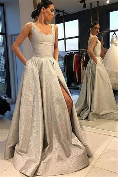 Sleek Jewel Split Front A-line Prom Dress_1