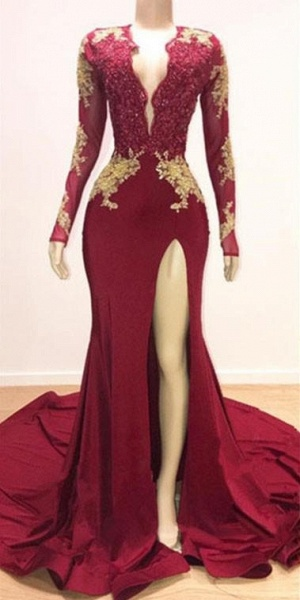 Deep V-neck Long Sleeves Lace Appliques Split Mermaid Evening Gowns_2