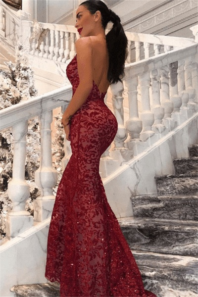 Awesome Spaghetti Straps Lace Mermaid Prom Dress_3
