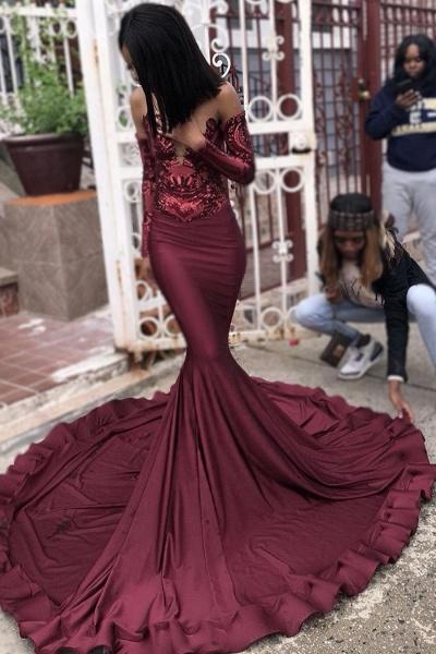 Attractive Sweetheart Satin Mermaid Prom Dress_3