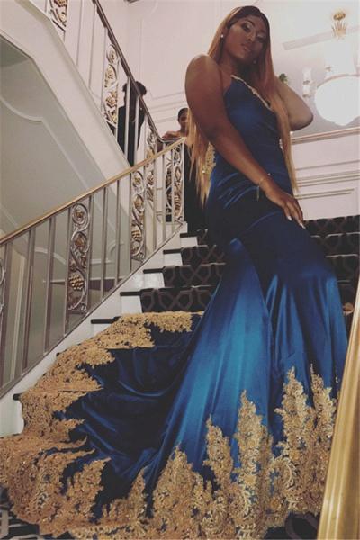 Attractive Spaghetti Straps Appliques Mermaid Prom Dress_1