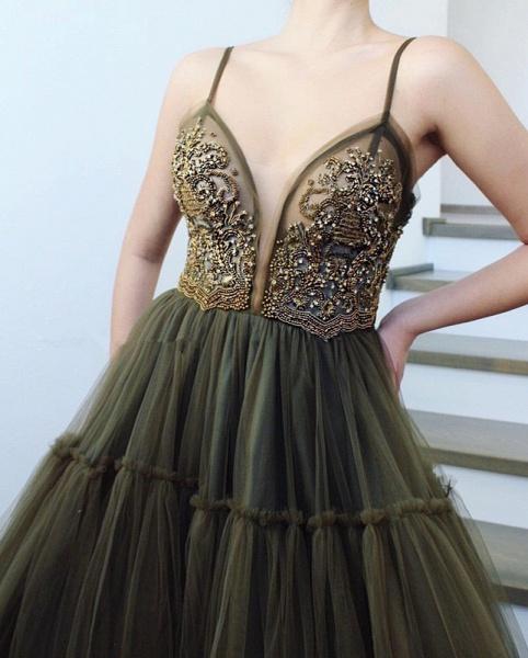 Excellent Spaghetti Straps Split Front A-line Prom Dress_2