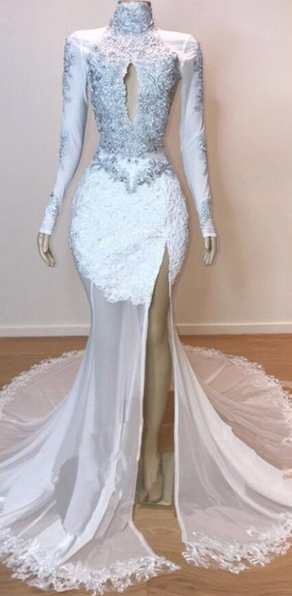 White Stunning Lace Long Sleeves Prom Dresses | 2021 Sheer Tulle Slit Mermaid Evening Gowns_2