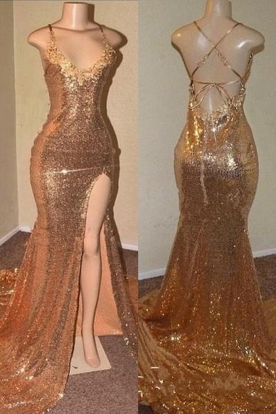 Sequins Sleeveless Front Slit Floor Length Mermaid Dresses_1